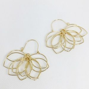 NWT Anthropologie gold lotus earrings